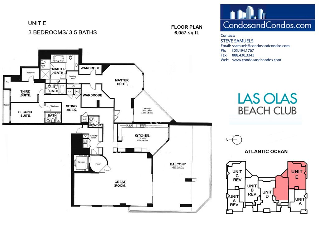 Las Olas Beach Club - Unit #Penthouse E with 6057 SF