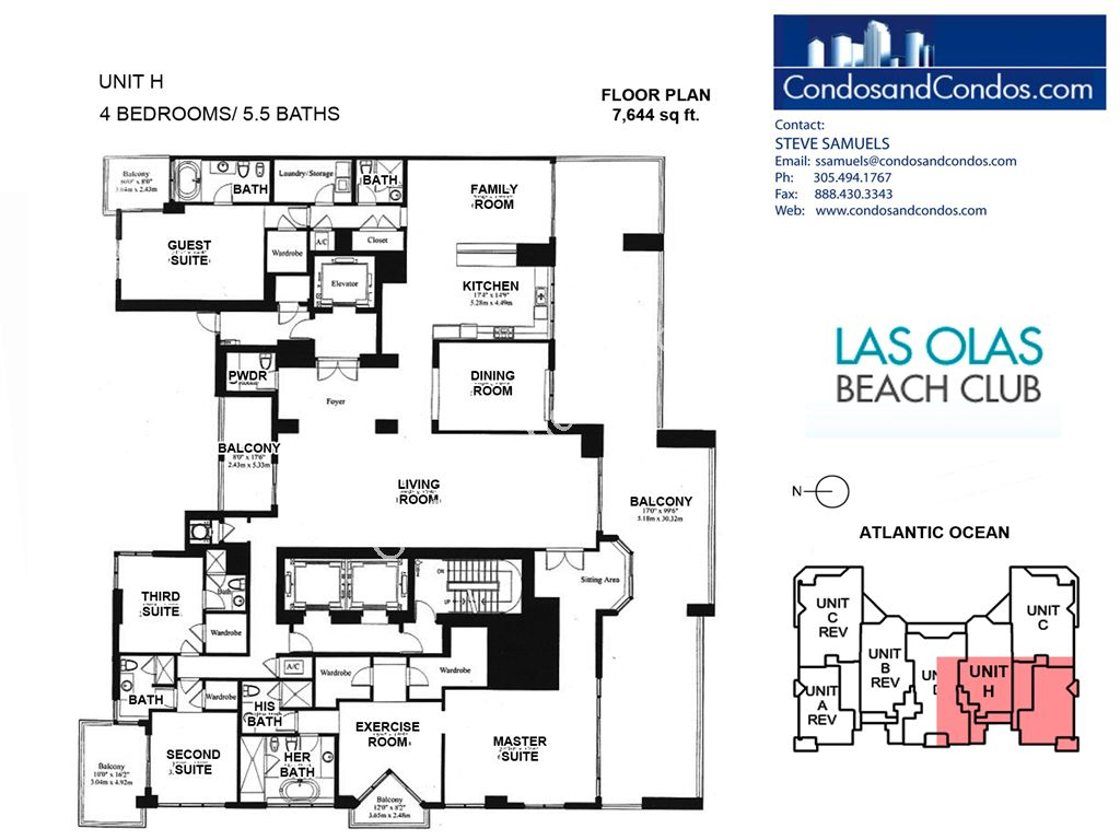 Las Olas Beach Club - Unit #Penthouse H with 7644 SF