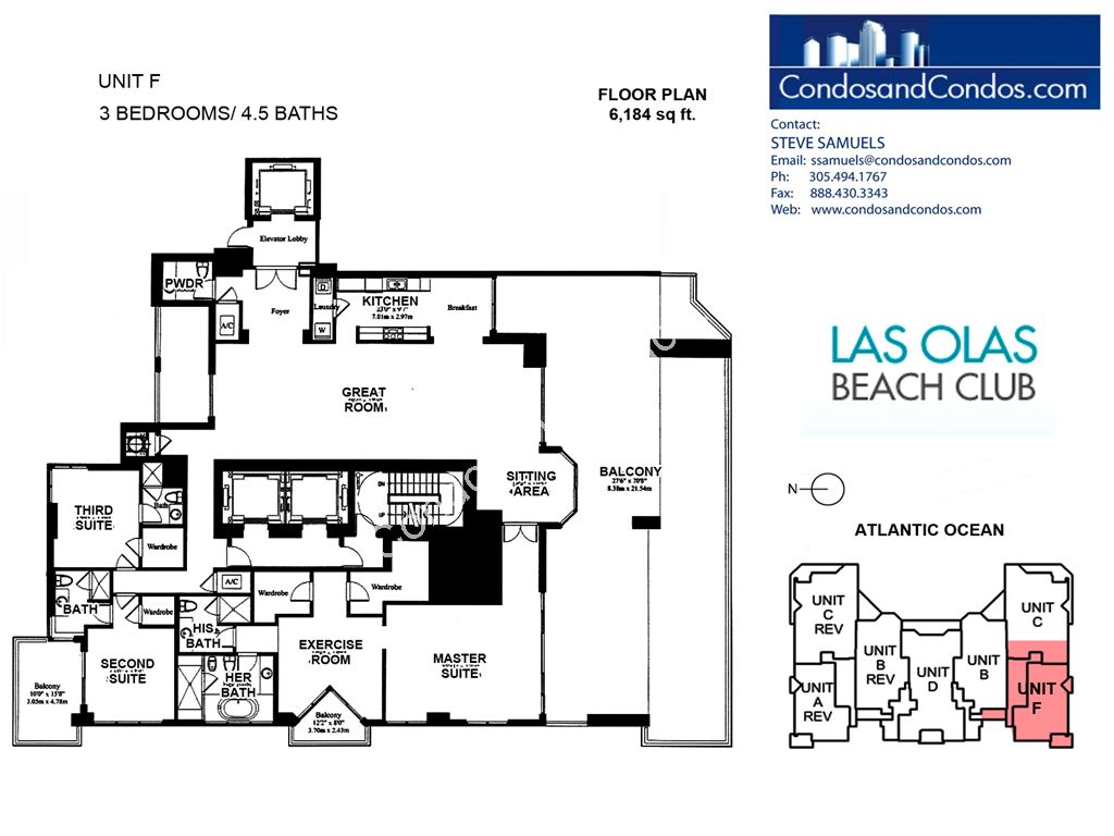 Las Olas Beach Club - Unit #Penthouse F with 6184 SF