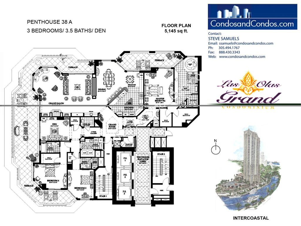 Las Olas Grand - Unit #Penthouse 38 A with 5145 SF