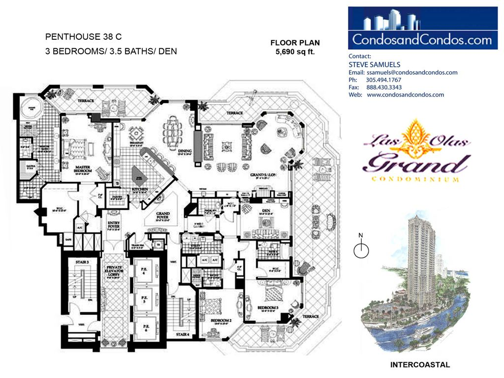 Las Olas Grand - Unit #Penthouse 38 C with 5690 SF