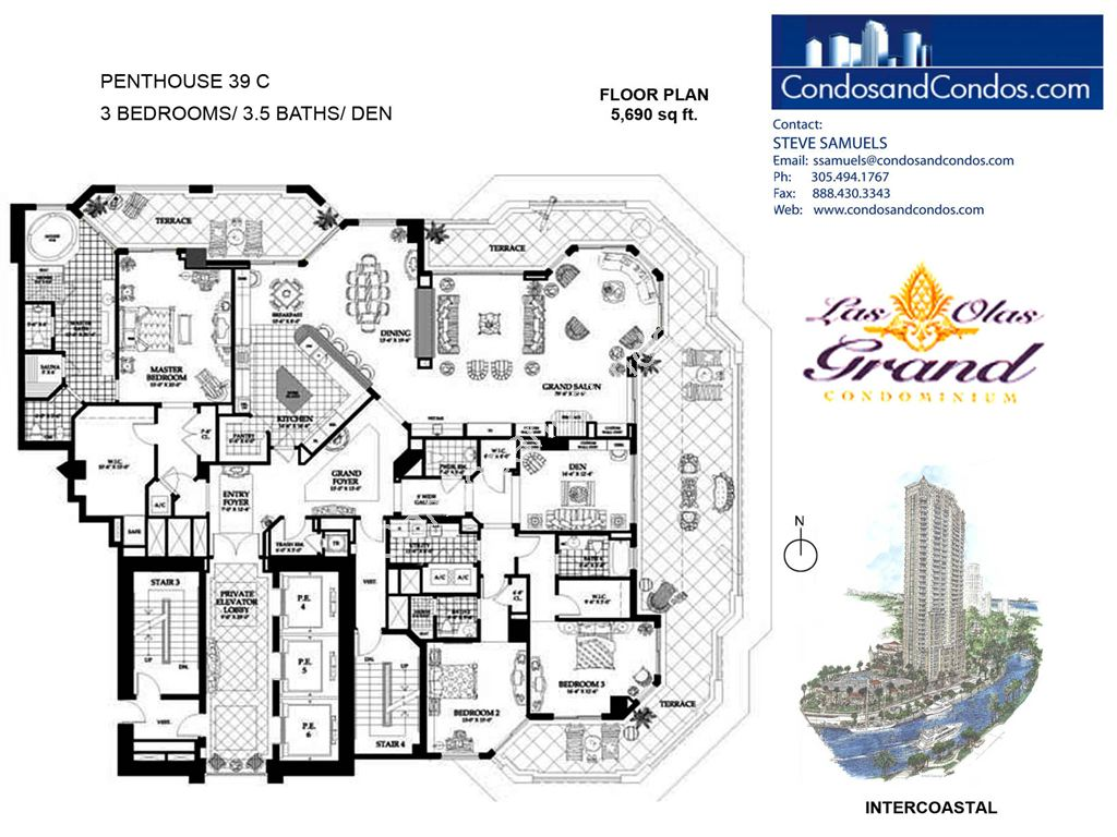 Las Olas Grand - Unit #Penthouse 39 C with 5690 SF