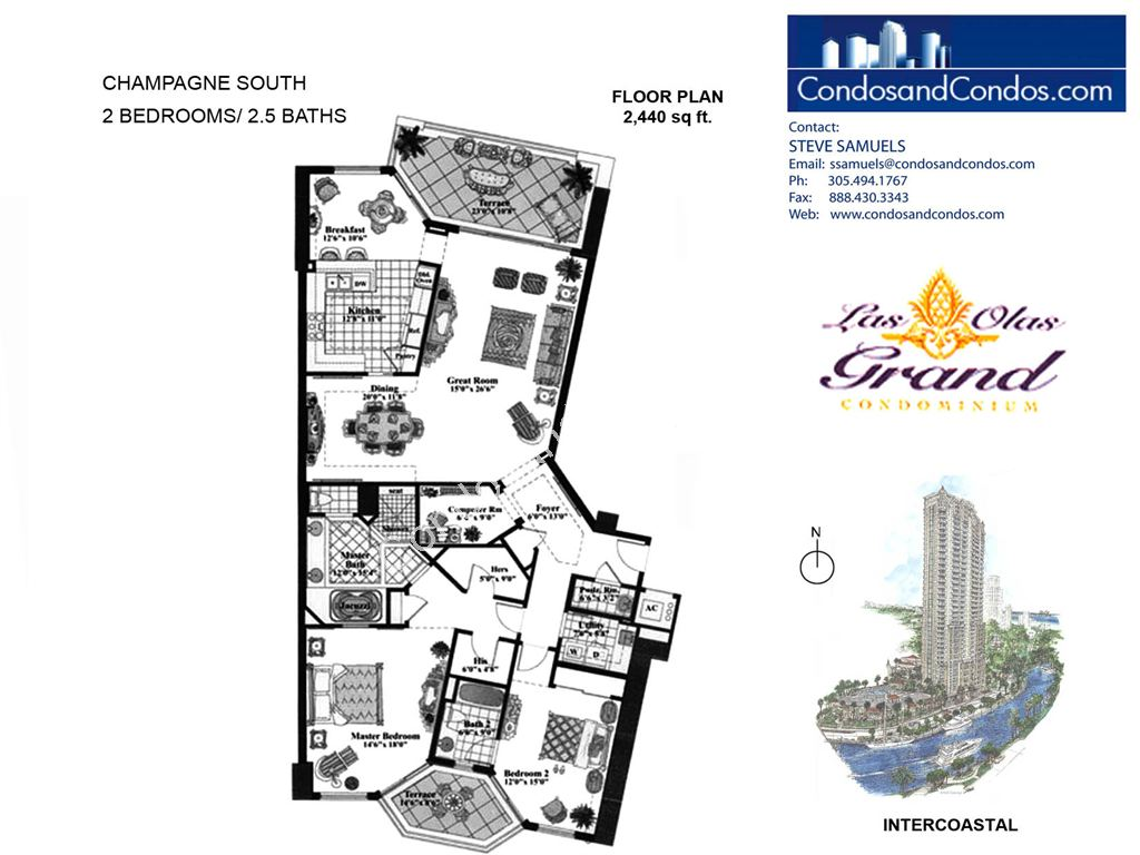 Las Olas Grand - Unit #Champagne South with 2440 SF