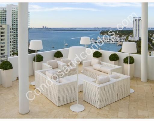 Trendy lounge furniture on private terrace
