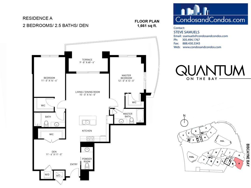 Miami condos for sale 1 bedroom condo 2 bedroom condos miami for Floor plans quantum bay