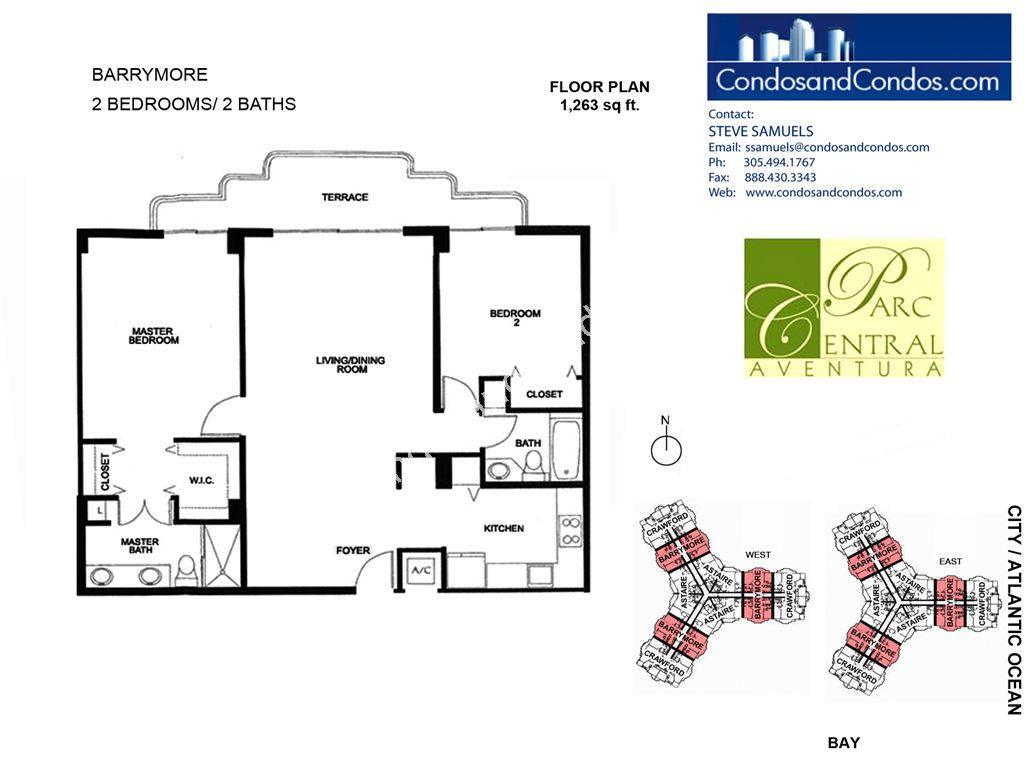 Parc Central - Unit #Barrymore with 1263 SF
