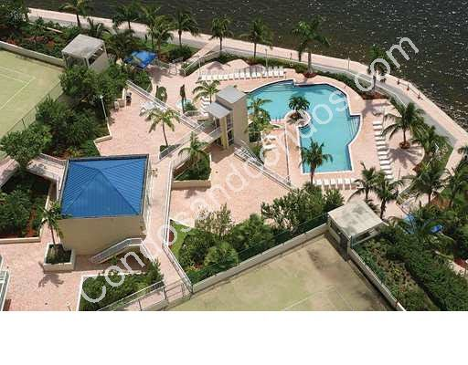 Bayfront pool, sundeck and tennis court
