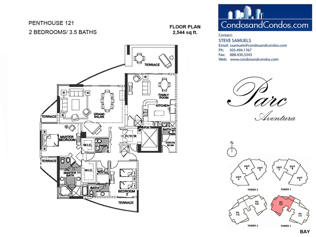 Parc at Turnberry Isles - Unit #Penthouse 121 with 2544 SF