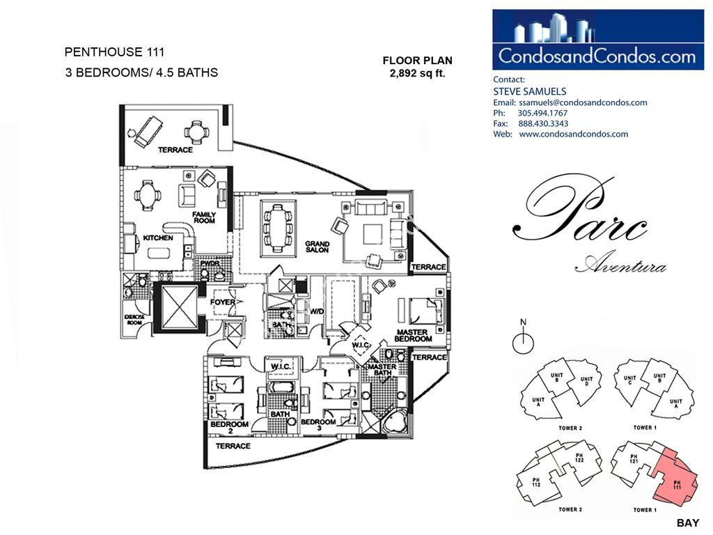 Parc at Turnberry Isles - Unit #Penthouse 111 with 2892 SF
