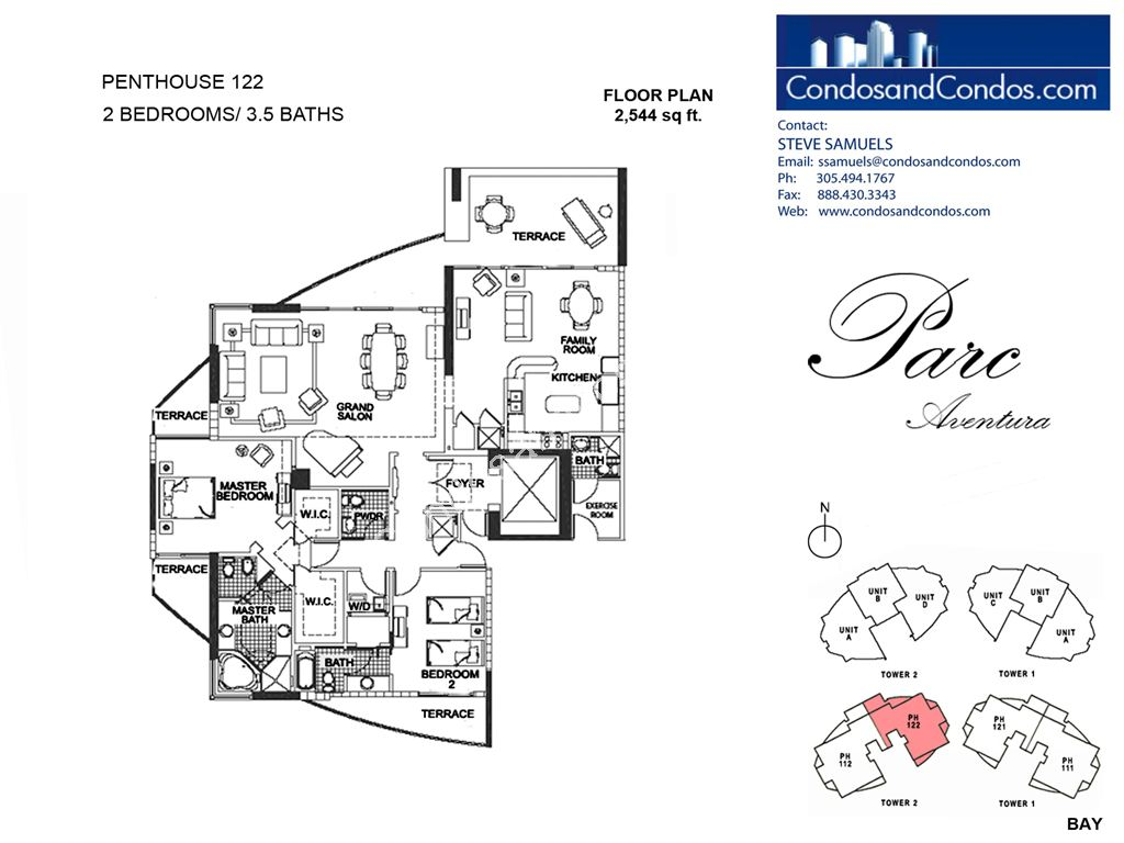Parc at Turnberry Isles - Unit #Penthouse 122 with 2544 SF