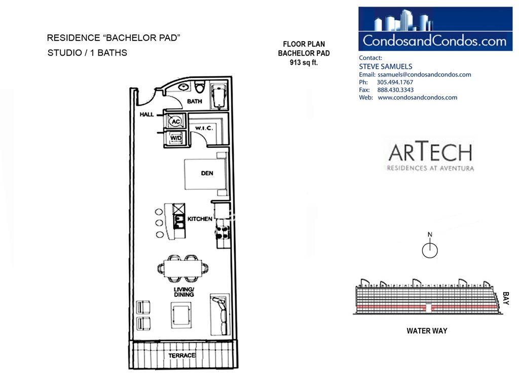 Artech - Unit #Bachelor Pad with 913 SF