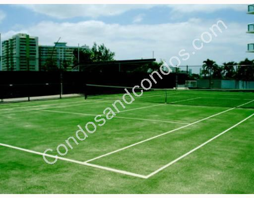Well maintained lighted tennis court