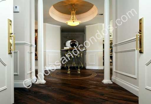 Regal entry gallery with coffered ceilings