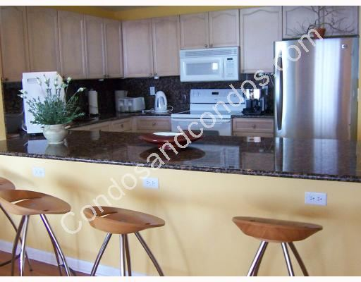 Breakfast bar with granite countertops