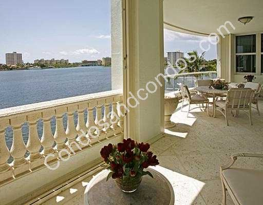 Spacious balcony overlooking the water