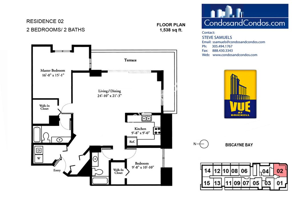 Vue at Brickell - Unit #02 with 1538 SF