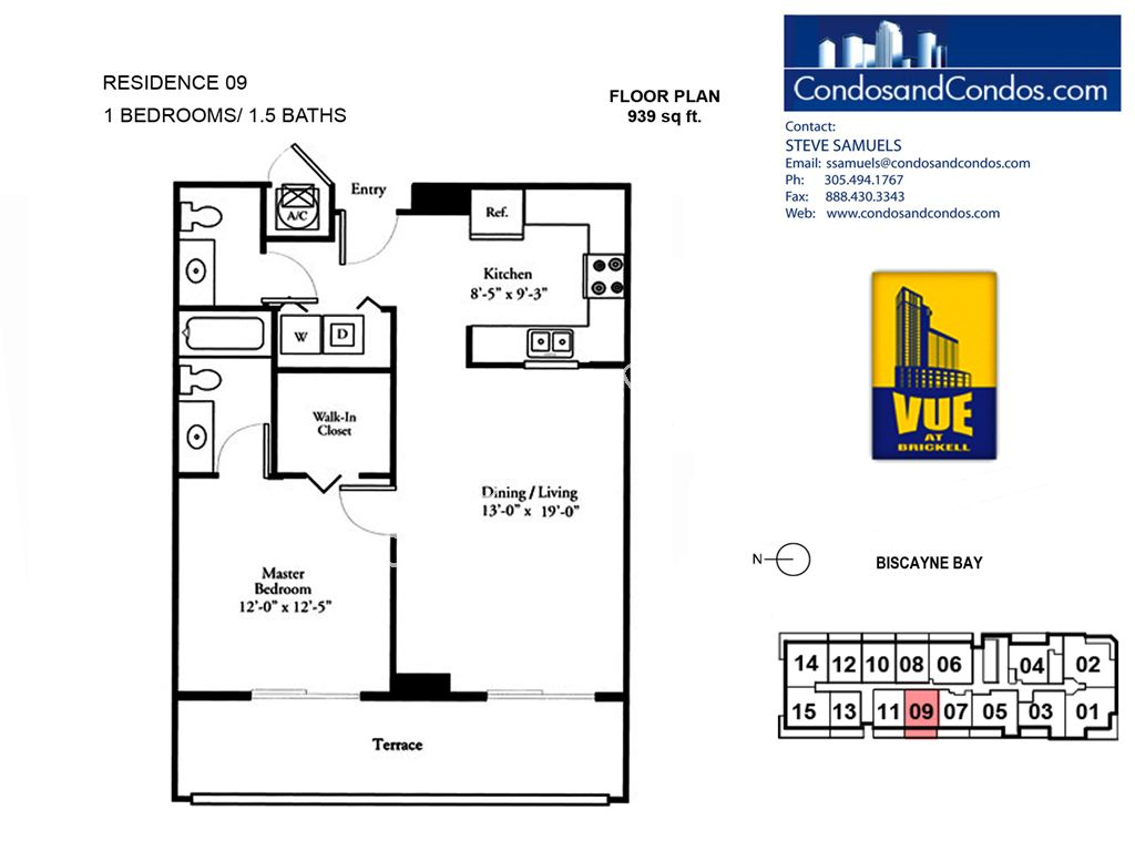 Vue at Brickell - Unit #09 with 939 SF