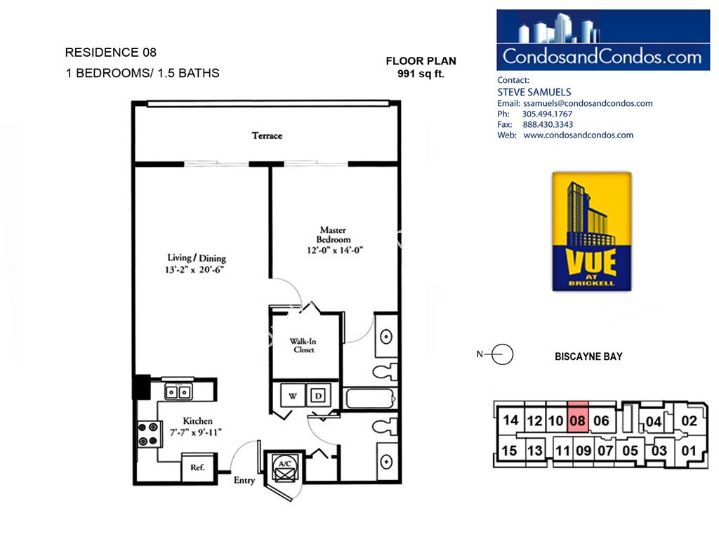 Vue at Brickell - Unit #08 with 991 SF