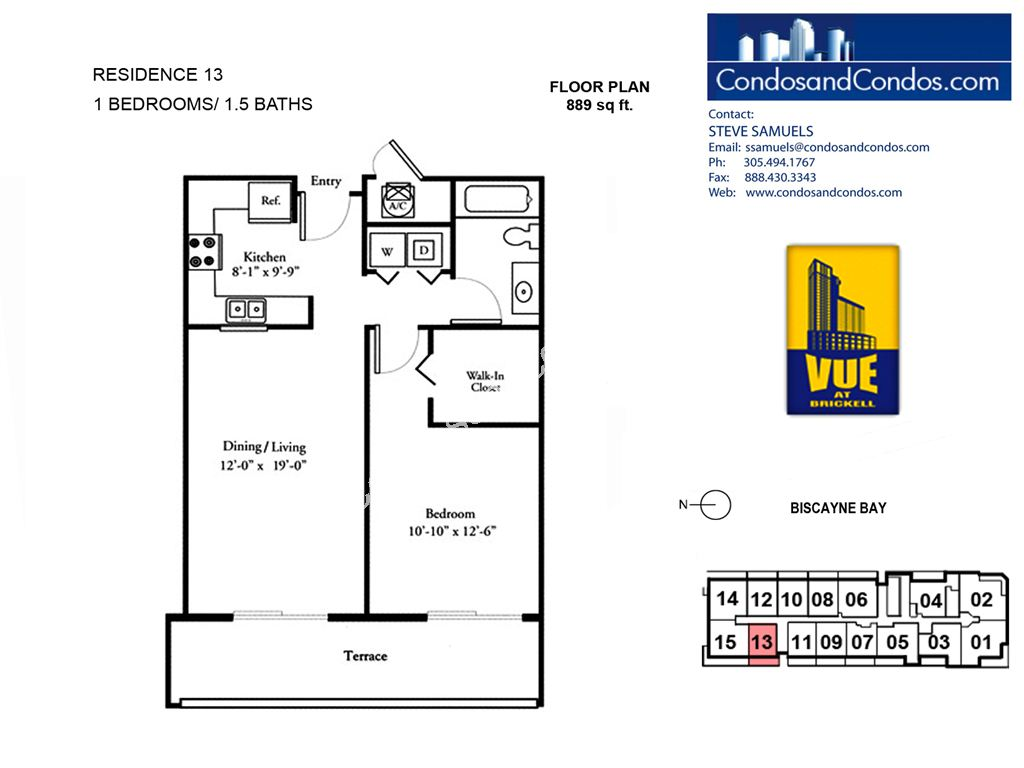 Vue at Brickell - Unit #13 with 889 SF