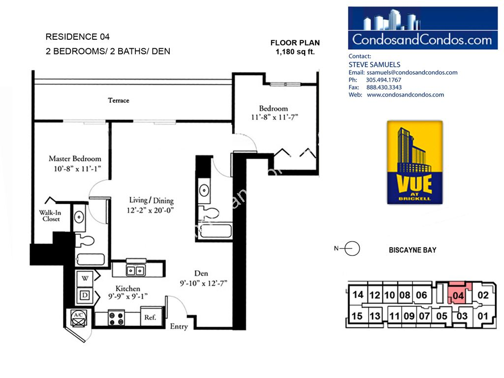 Vue at Brickell - Unit #04 with 1180 SF