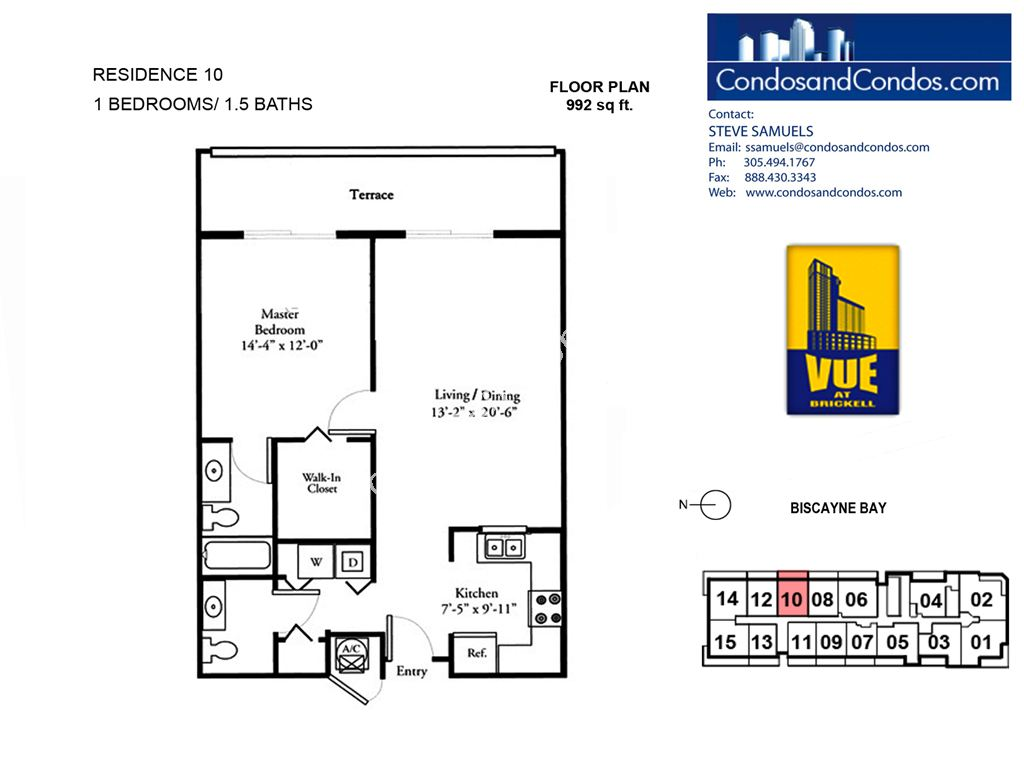 Vue at Brickell - Unit #10 with 992 SF