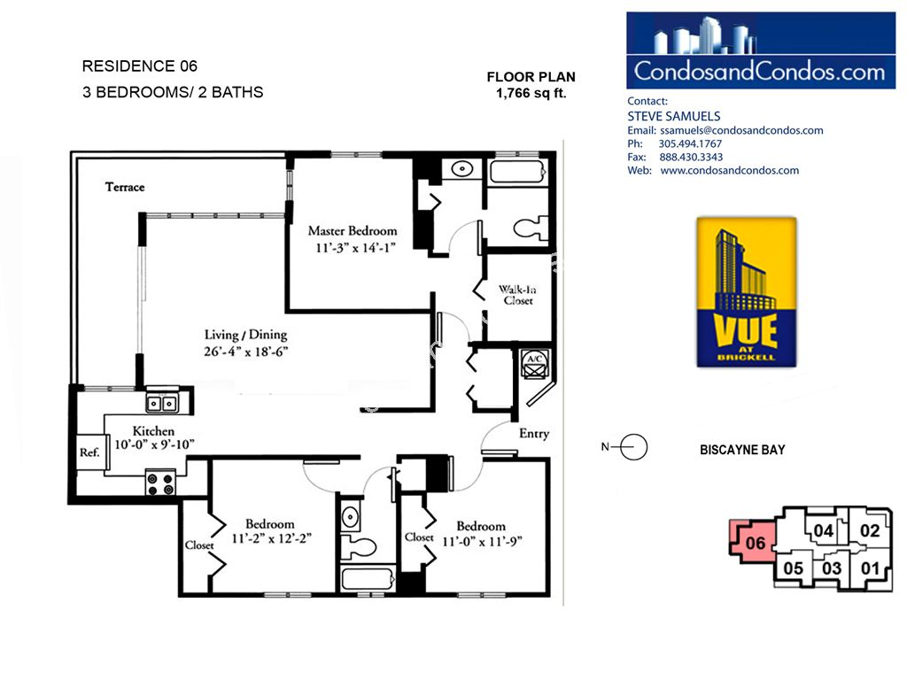 Vue at Brickell - Unit #06 (floors 25-36) with 1766 SF