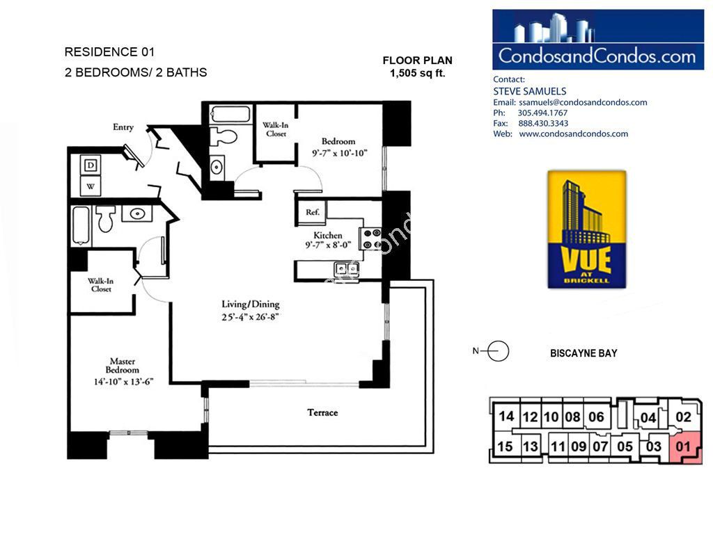 Vue at Brickell - Unit #01 with 1505 SF