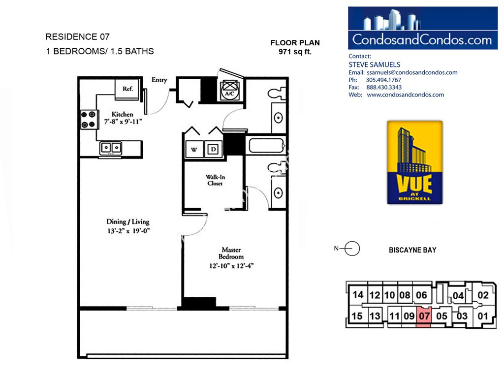 Vue at Brickell - Unit #07 with 971 SF