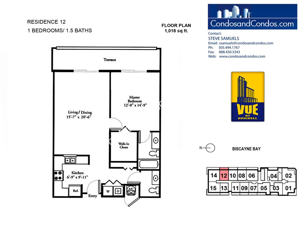Vue at Brickell - Unit #12 with 1018 SF