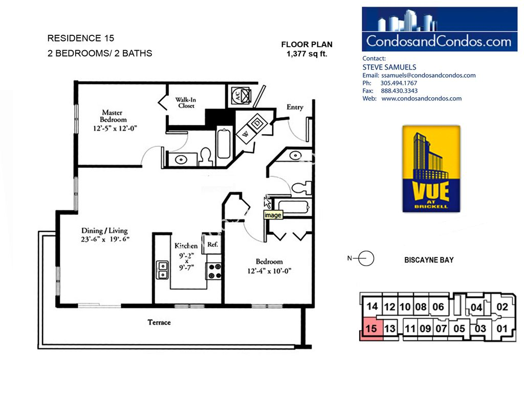 Vue at Brickell - Unit #15 with 1377 SF