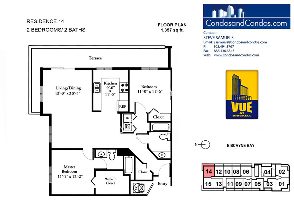 Vue at Brickell - Unit #14 with 1357 SF