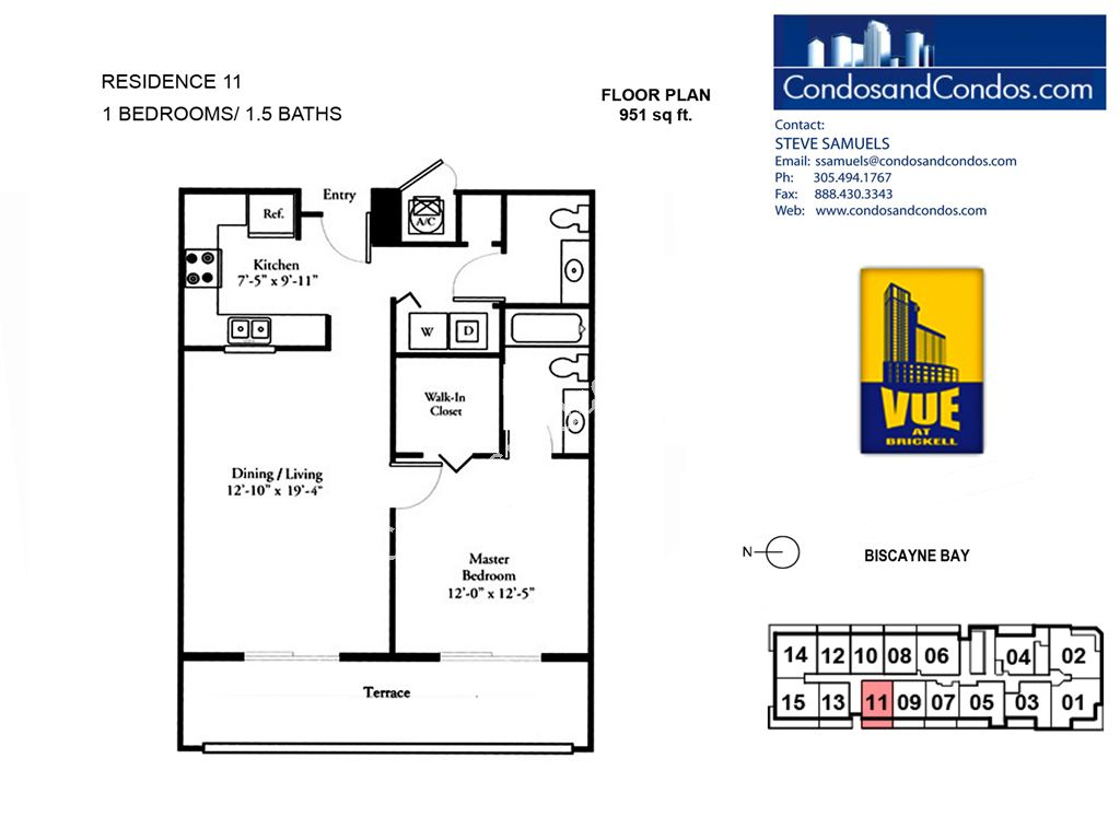 Vue at Brickell - Unit #11 with 951 SF