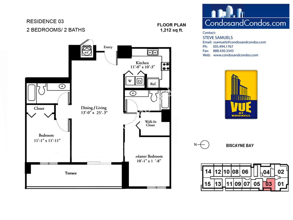 Vue at Brickell - Unit #03 with 1212 SF
