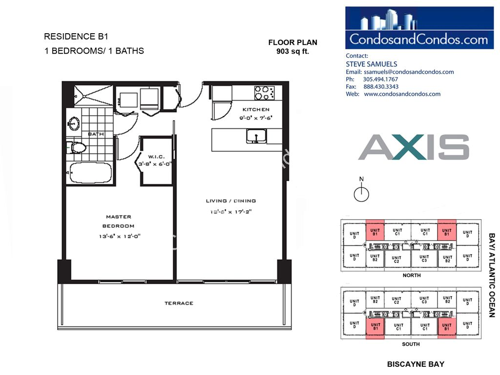 Axis Brickell - Unit #B1 with 903 SF
