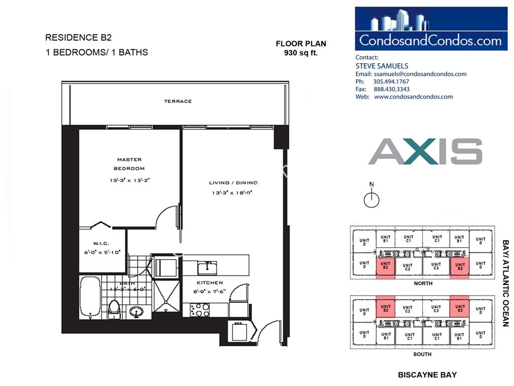 Axis Brickell - Unit #B2 with 930 SF