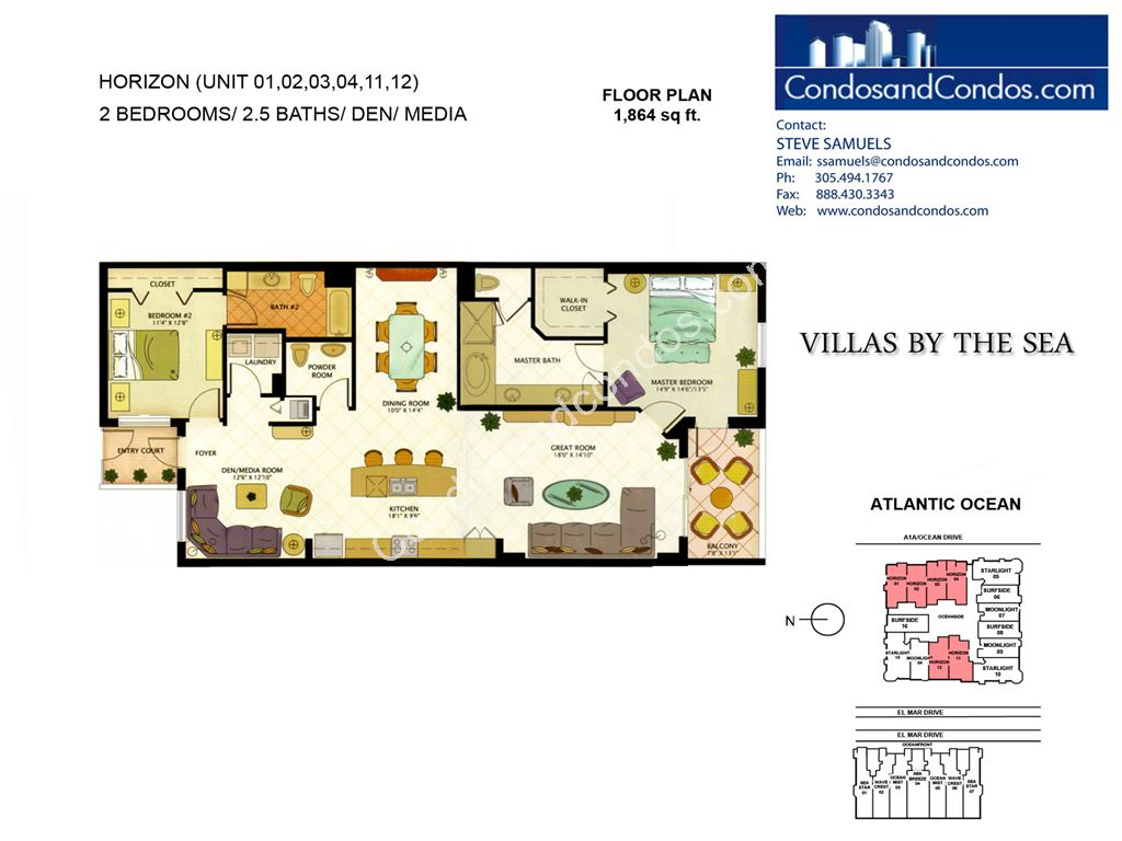 Villas by the Sea - Unit #Horizon with 1864 SF