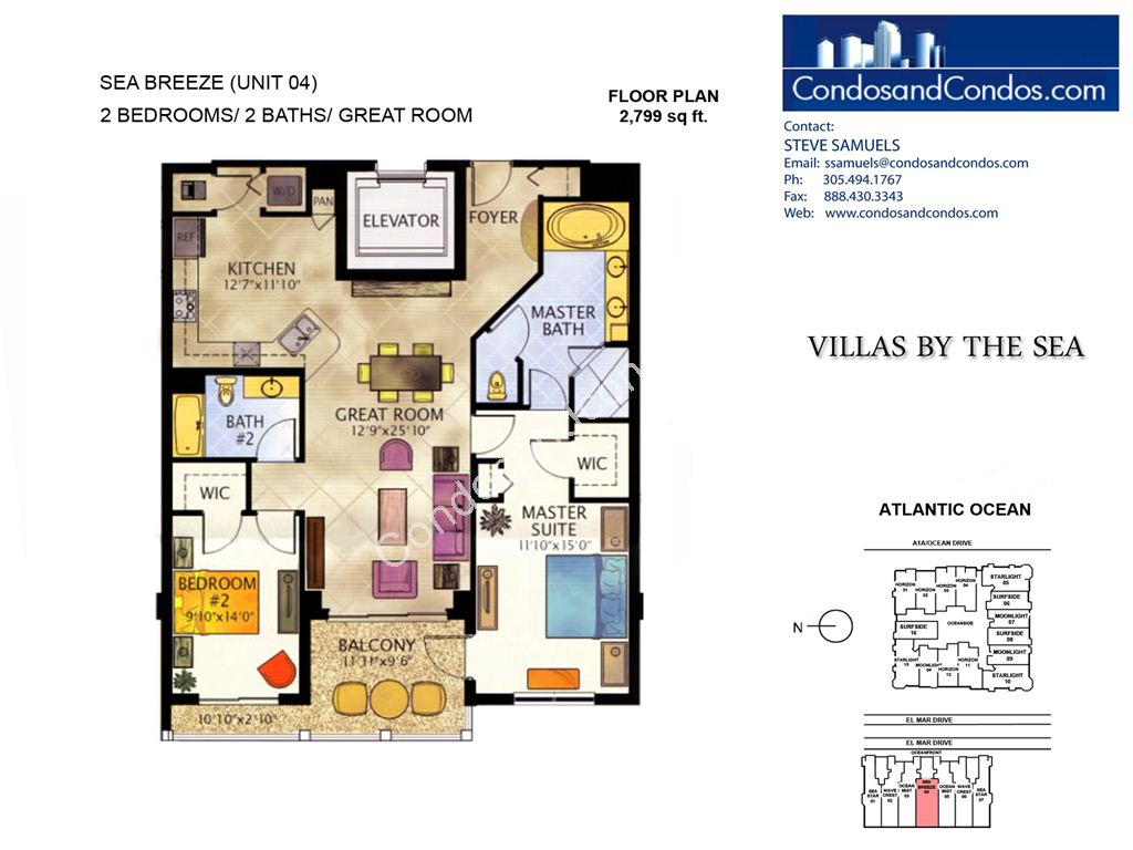 Villas by the Sea - Unit #Sea Breeze with 2799 SF