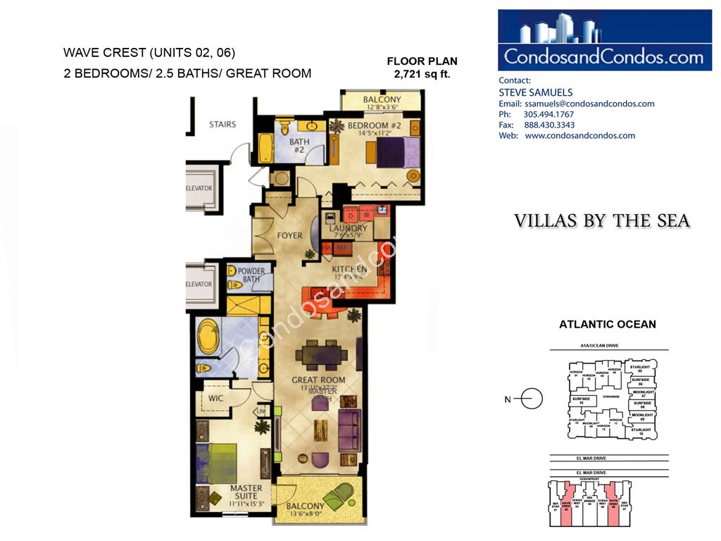 Villas by the Sea - Unit #Wave Crest with 2721 SF