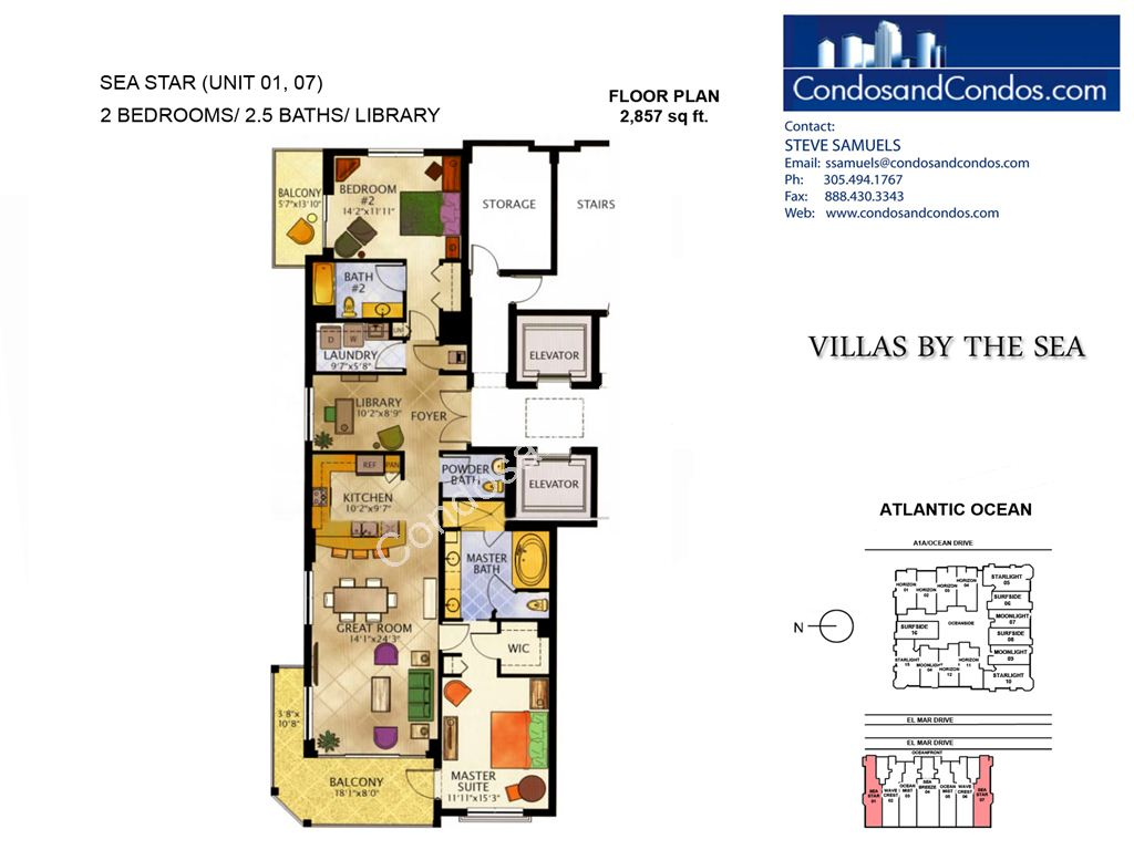 Villas by the Sea - Unit #Sea star with 2857 SF