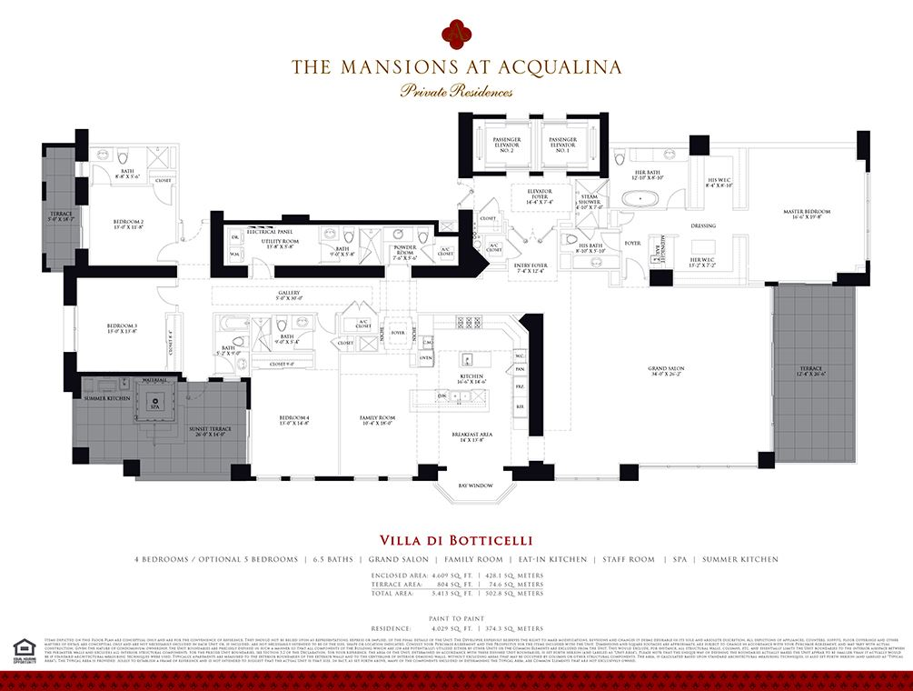 Mansions at Acqualina - Unit #BOTTICELLI with 4609 SF