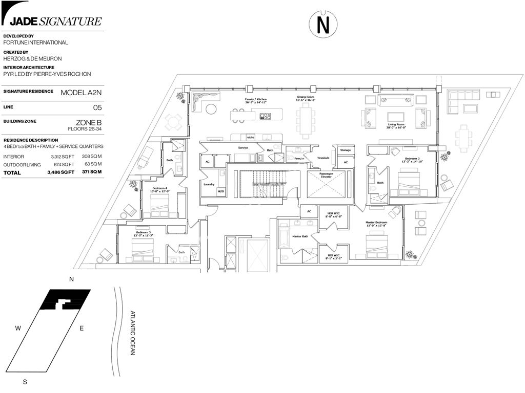 Jade Signature - Unit #A2N     Line -04     Floors 26-34 with 3312 SF