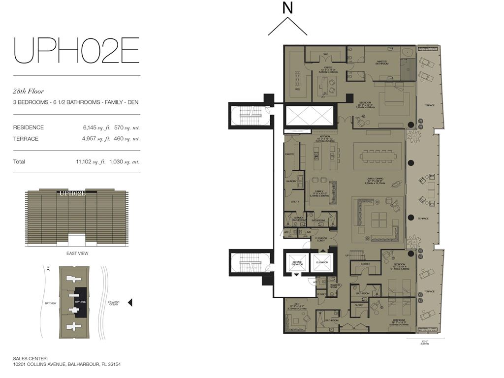 Oceana Bal Harbour - Unit #UPH02E Floors 28 with 6145 SF