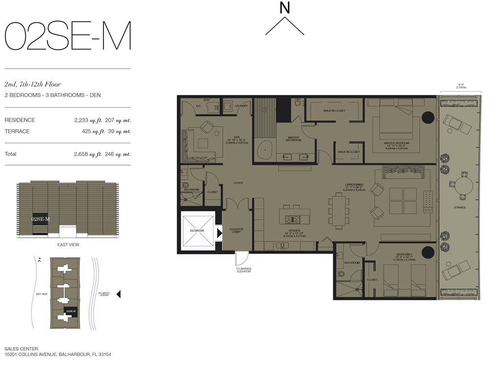 Oceana Bal Harbour - Unit #02SE-M Floors 2,7-12 with 2233 SF