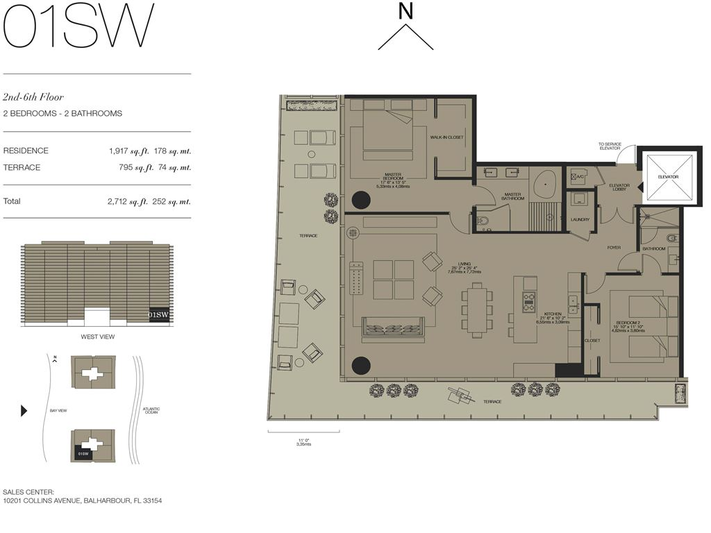 Oceana Bal Harbour - Unit #01SW Floors 2-6 with 1917 SF