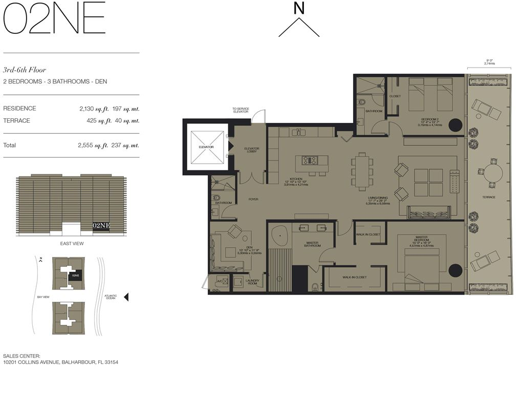 Oceana Bal Harbour - Unit #02NE Floors 3-6 with 2130 SF