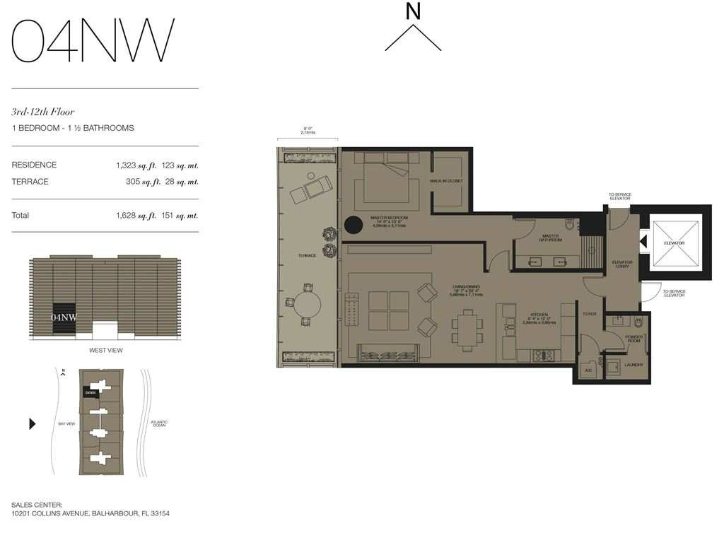 Oceana Bal Harbour - Unit #04NW Floors 3-12 with 1323 SF