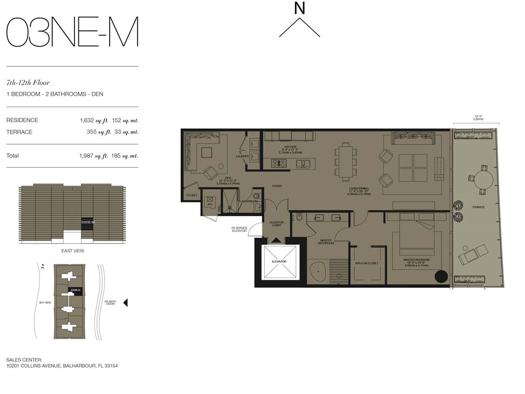 Oceana Bal Harbour - Unit #03NE-M Floors 7-12 with 1632 SF
