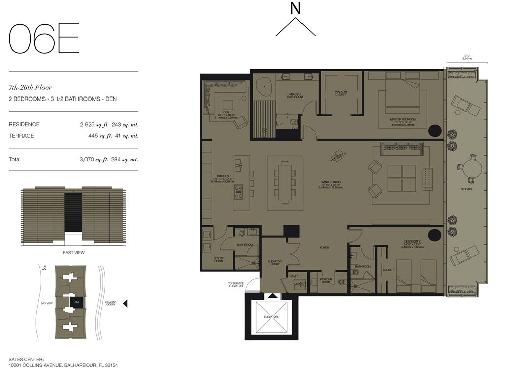 Oceana Bal Harbour - Unit #06E Floors 7-26 with 2625 SF
