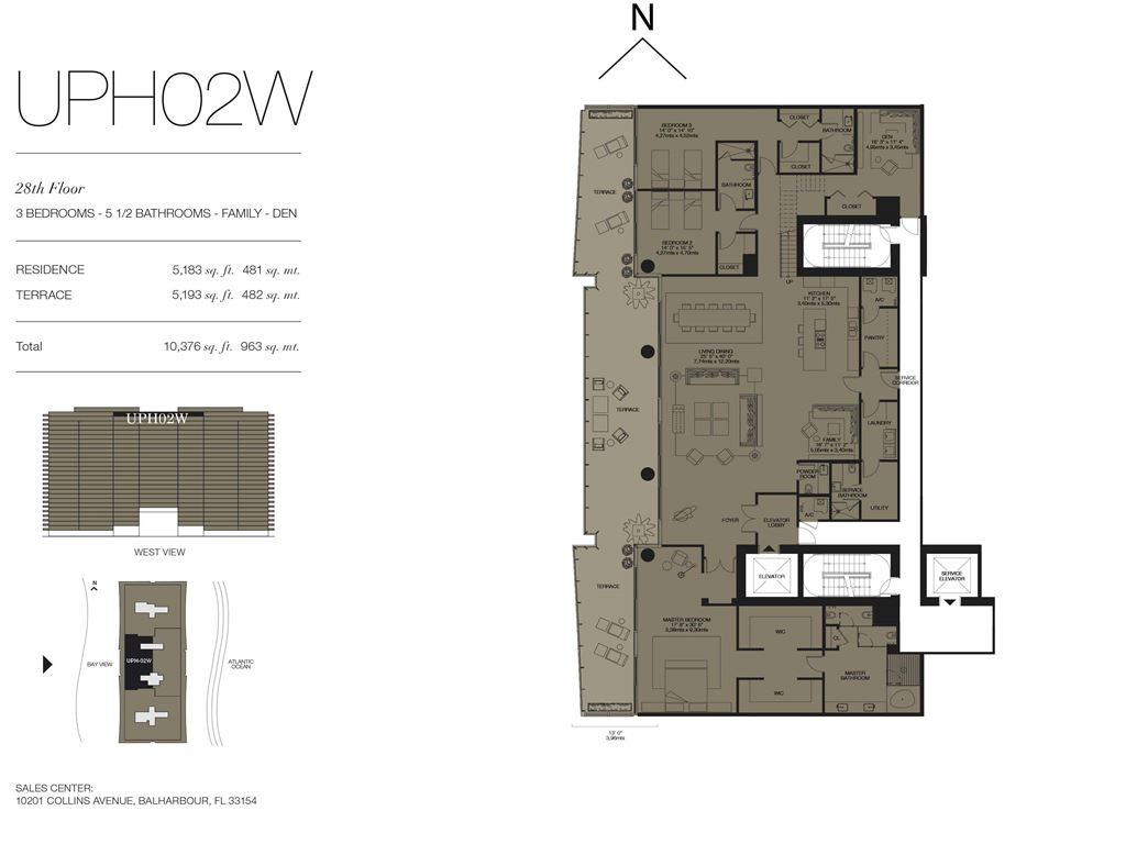 Oceana Bal Harbour - Unit #UPH02W Floors 28 with 5183 SF