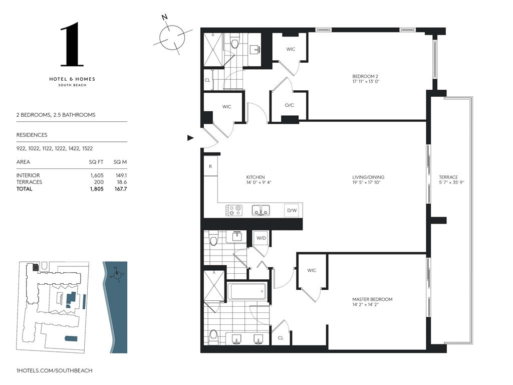 1 Hotel & Homes South Beach - Unit #922,1022,1122,1222,1422,1522 with 1605 SF
